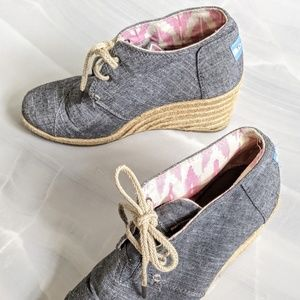 Toms lace up espadrille wedges